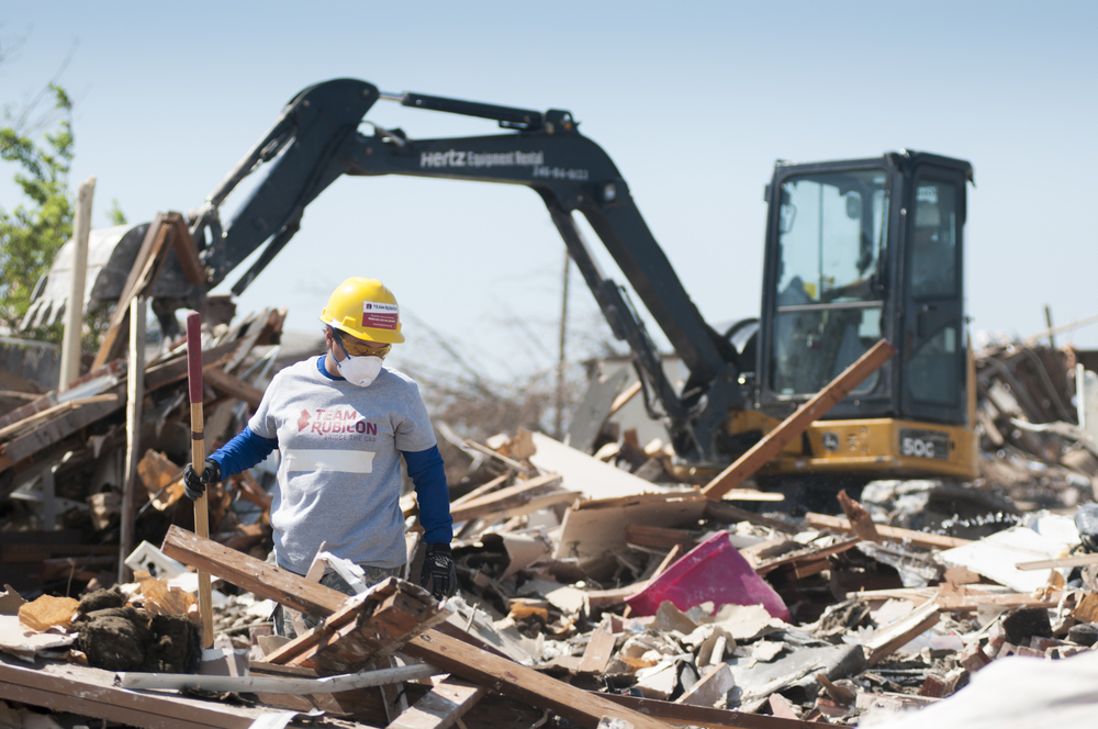 Team Rubicon providing debris removal during the Moore, Oklahoma tornado disaster of 2013.