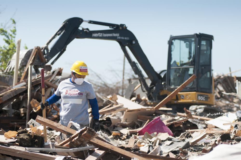 Team Rubicon providing debris removal during the Moore, Oklahoma tornado disaster of 2013.