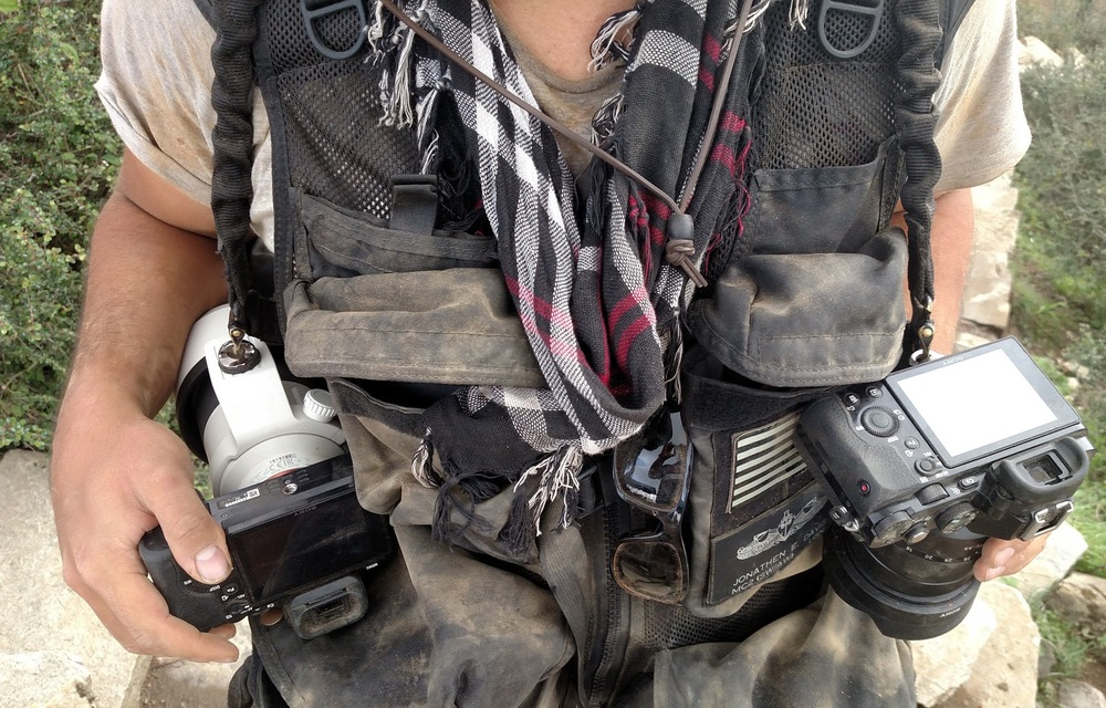 Camera gear covered in mud and dirt.  Photo provided by Jonah Thompson.