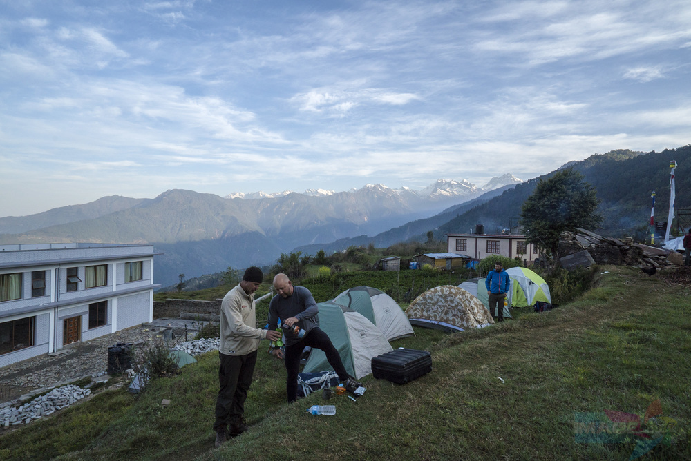 Waking up in the morning in Sermantang, Nepal – with the view of the Himalayas.