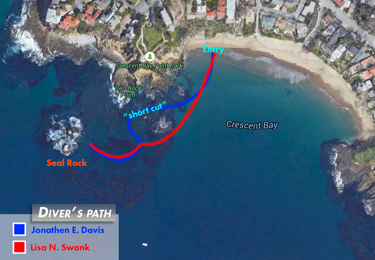 Jonathen and Lisa's dive path to Seal Rock.