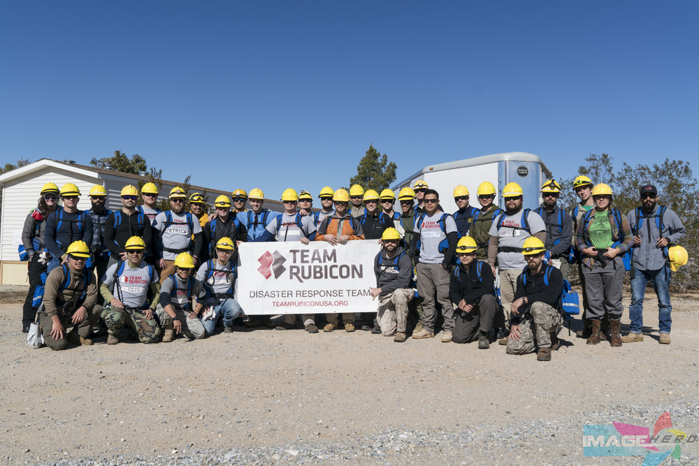 Team Rubicon members from FFT2 (Fire Fighter Training 2) pose for a group photograph before starting their field training exercise.