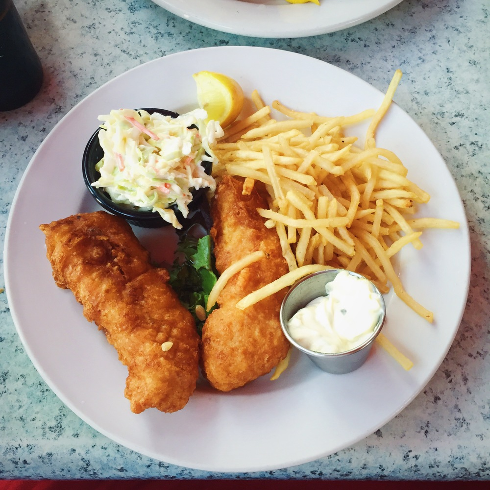 My dinner from Claws Seafood Restaurant, Fish & Chips. I hate seafood, but this was so good.