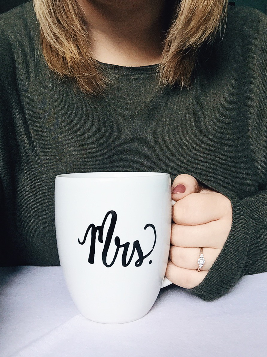 bride to be. mrs. coffee mug. DIY tutorial. engagement ring. sweater weather.