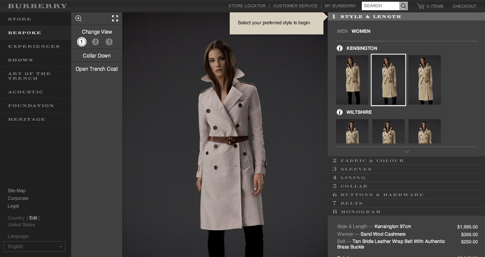 Burberry Bespoke - create your own trench