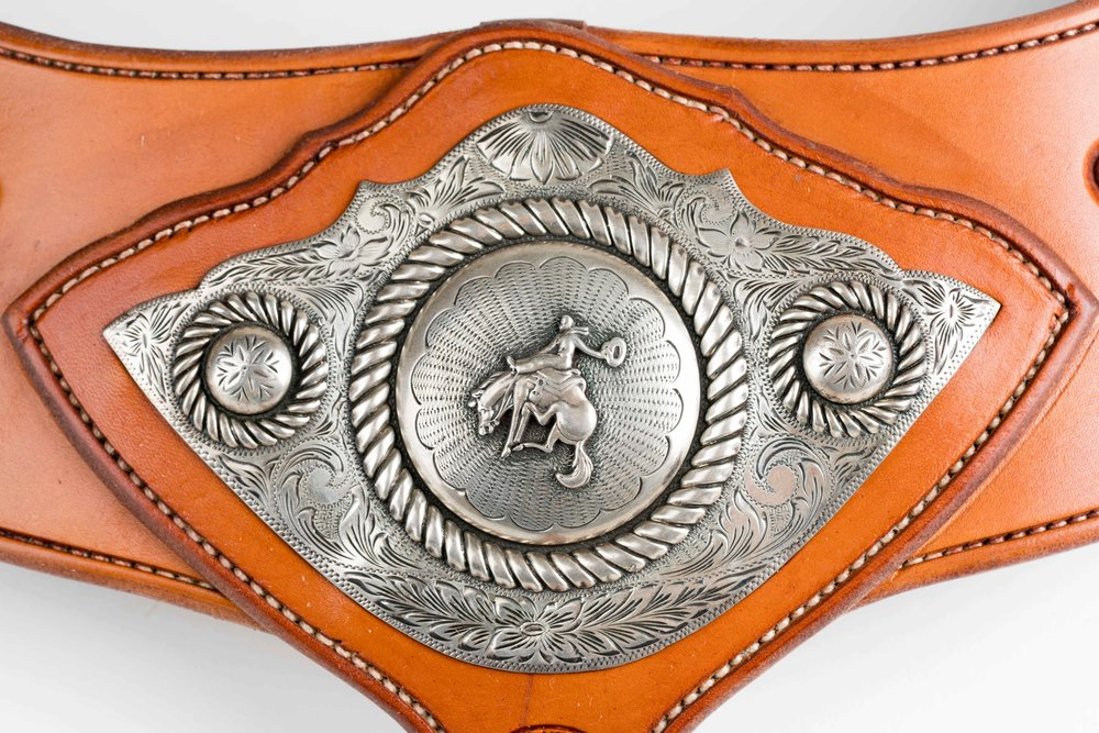 Old Cowdogs Silver with leather by Chas Weldon