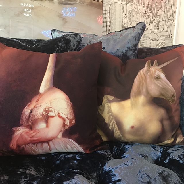 Find some of the first Apartment 415 pillows, exclusively at @duroquewesthollywood  Remember the unicorn with the boobs? 🦄 they have it! . . . #apartment415 #pillows #westhollywood #style #decor #LosAngeles #interiorstyle #interiors #homedecor #interiordesign #hollywood #LA #CityofAngels #shop #gifts @discoverla #Madeinmexico #TuesdayMood #Unicorn #nudity #Swam #pillowdesign #decor