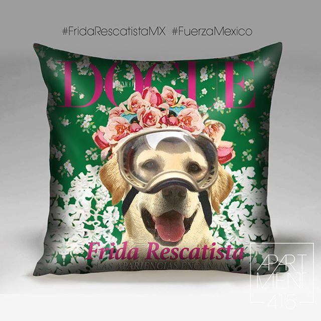 """The """"Dogue"""" version of Frida the Rescue dog pillow. 50% of the profits will go to animals affected by the earthquake. DM for info La versión """"Dogue"""" de nuestro cojín Frida Rescatista. 🇲🇽 🐶 50% de las ganancias recaudadas se donarán para animales afectados por el temblor. DM para info . . . #apartment415 #mexico #mexicocity #cdmx #helpus #dogs #rescueddogs #donations #frida #fridarescatista #fridarescatistamx @fridarescatistamx #design #diseño #hechoenmexico #diseñomexicano #madeinmexico #earthquakemexico #help #dogsofintsa #fridakahlo #frida #vogue #Dogue #kahlo #mifrida"""