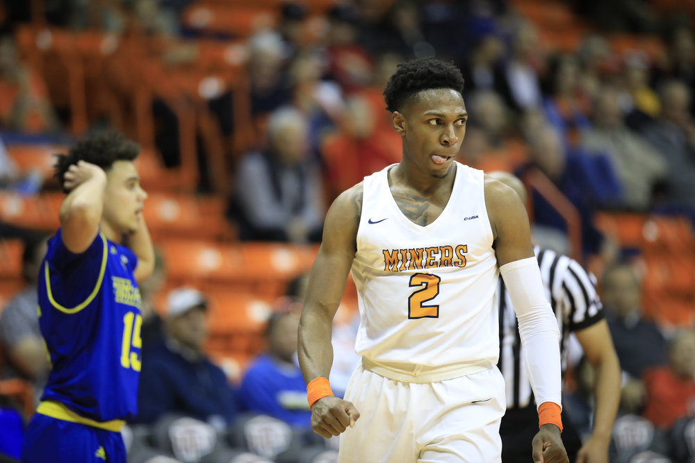 EL PASO, TX - DECEMBER 16: UTEP Miners guard  Jordan Lathon (2) celebrates a loose ball foul during a college basketball game between UC Riverside Highlanders and UTEP Miners on December 16, 2018, at the Don Haskins Center in El Paso, TX. (Photo by Jorge Salgado/Icon Sportswire)
