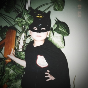 The Caped Crusader at 4 years of age