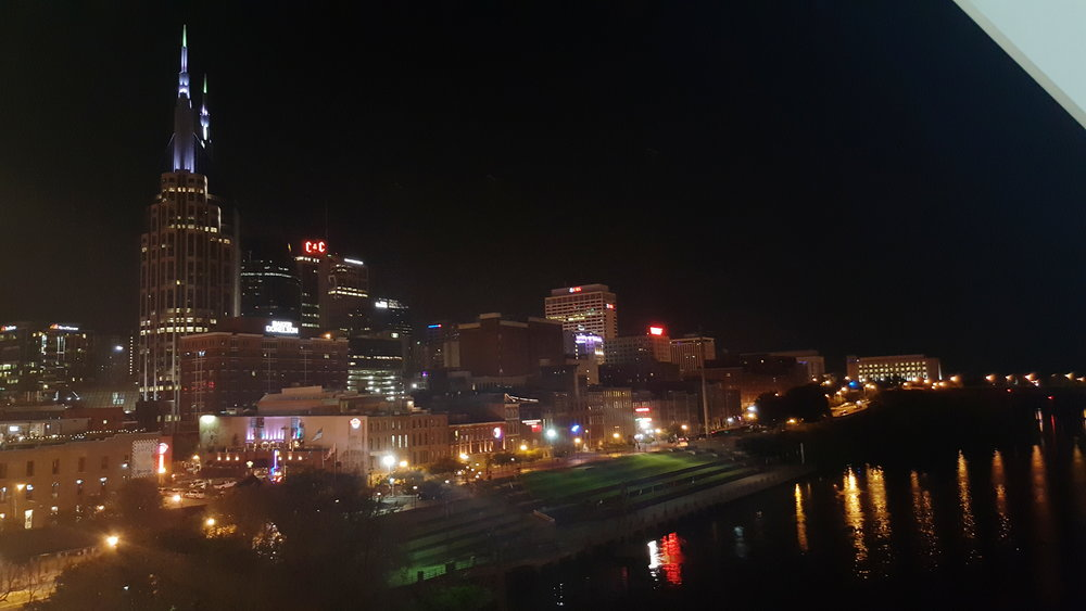 Glittering Downtown Nashville, seen from our walk across the  John Seigenthaler Pedestrian Bridge , on our walk back to our AirBnb.