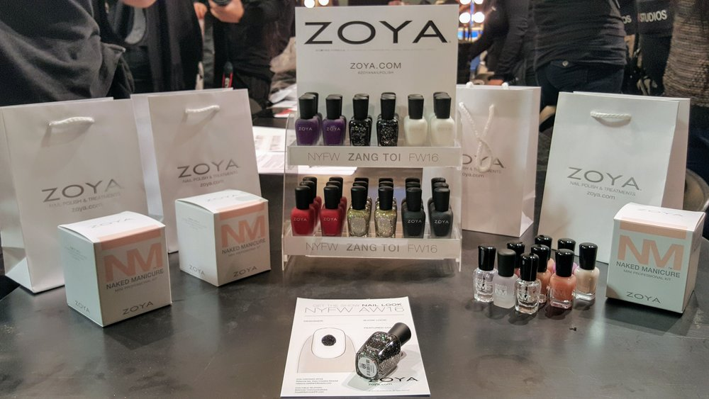 ZOYA's Naked Manicure was featured on the models, but they also had some unique bold metallic and shimmery matte colors.