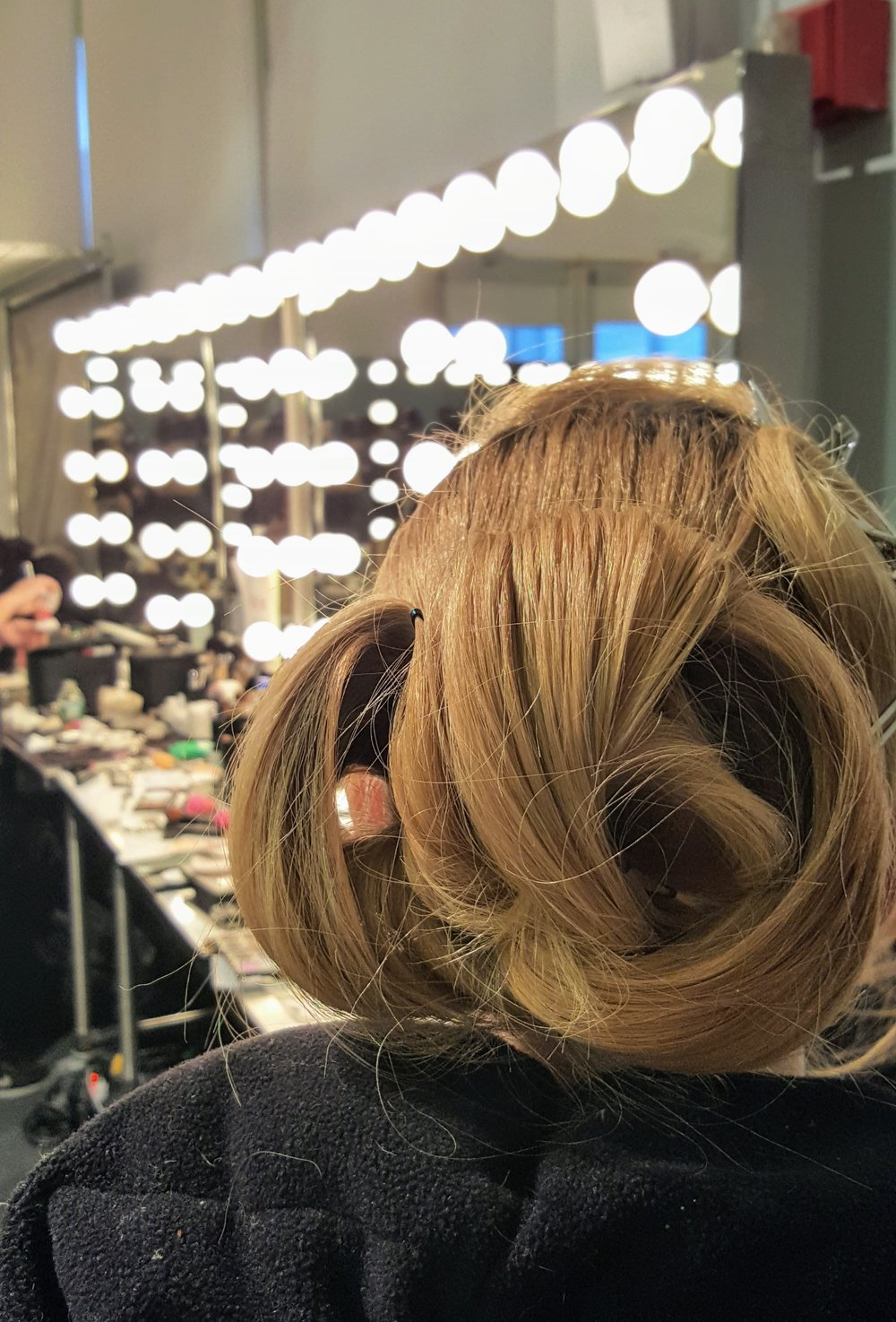 A coiled, wrapped bun was the look of choice at this and many of the other shows this Fashion Week, Fall Winter 16.