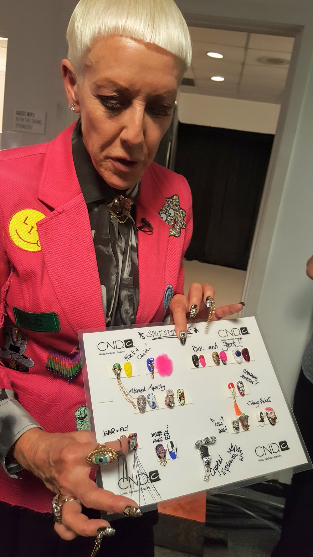 CND  blew minds with the manis for this collection. Here, co-founder, Jan Arnold, tells us about the vision behind the extreme nail bling (catch the video below). She was also too cool. Obsessed with the eye rings on her fingers!