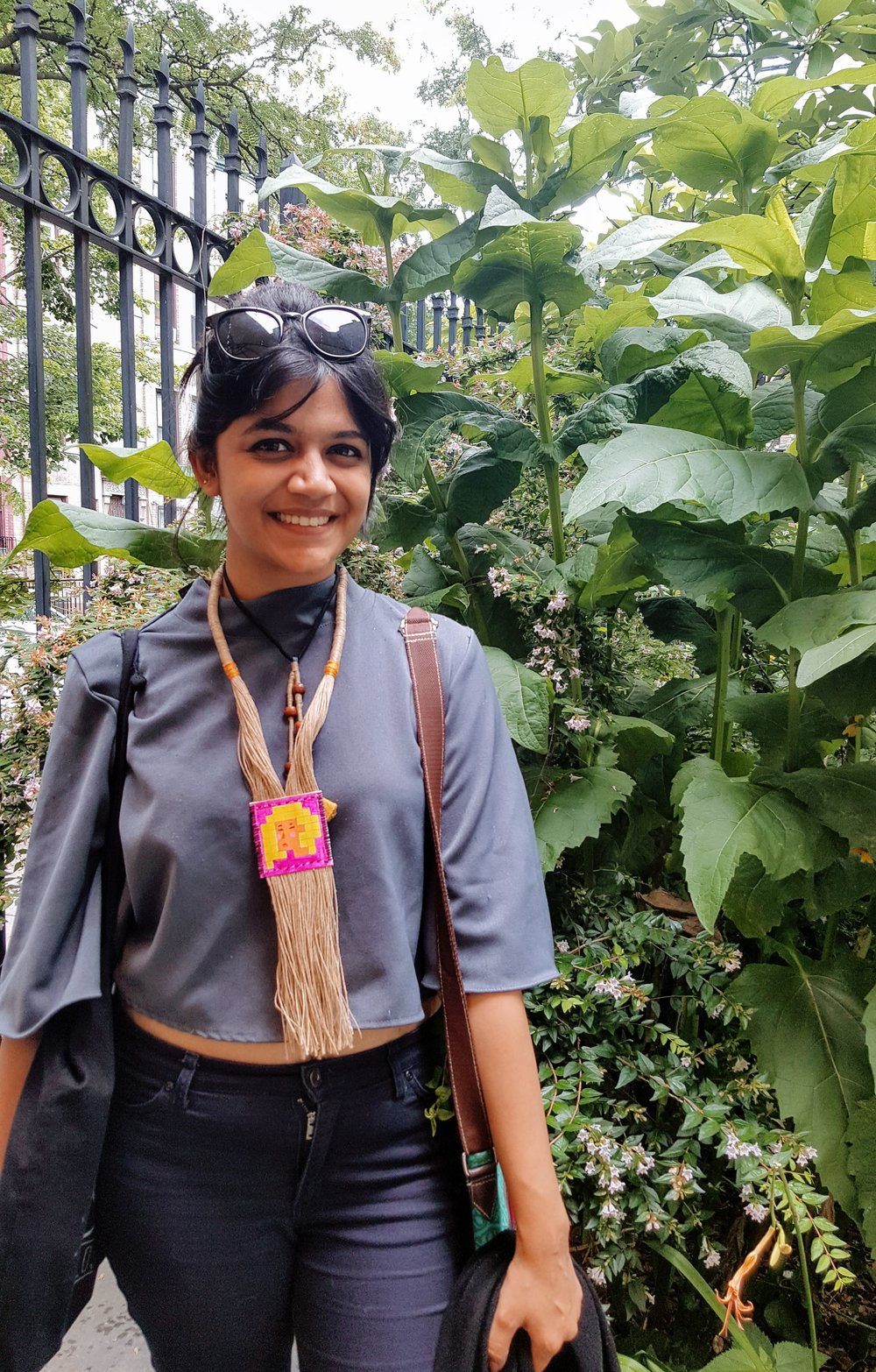 Diti Mistry, pictured above wearing one of her handmade necklaces in Brooklyn, NY - June 2017. Photo: Lauren A. Oosterlinck