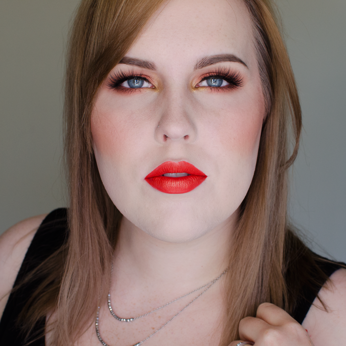 Warm Copper Eyes and Bright Lips Look