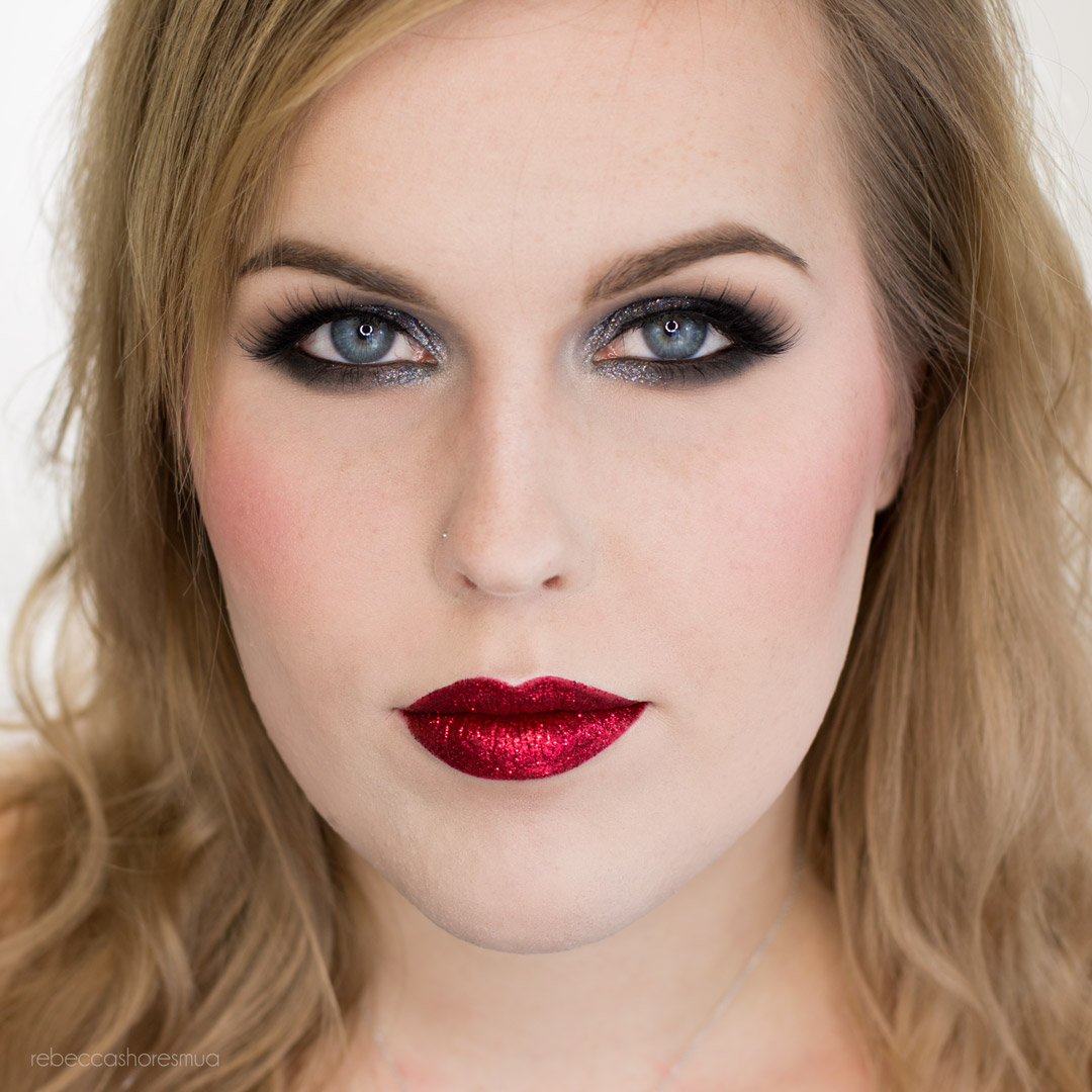 Glitter Smoky Eye With Red Glitter Lips Makeup Look