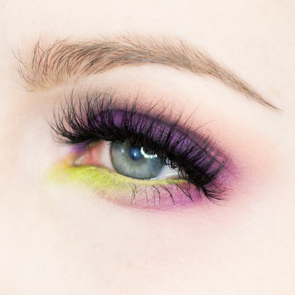 Bright Purple and Acid Green Eye Shadow Makeup Tutorial