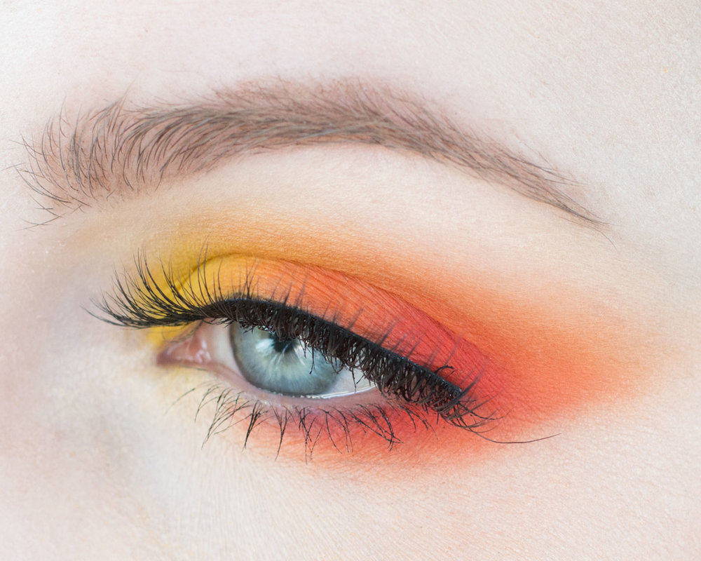 Red Orange Yellow Analogous Makeup Look With Color Theory