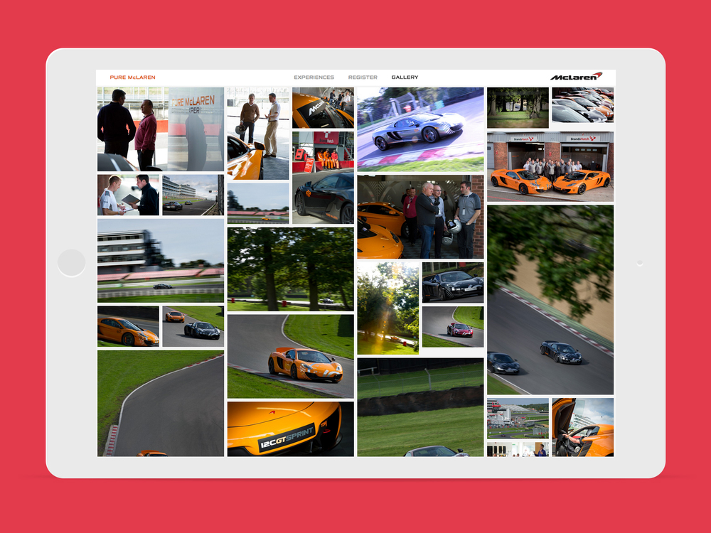 Interactive Responsive image gallery of Pure McLaren Driving Experiences