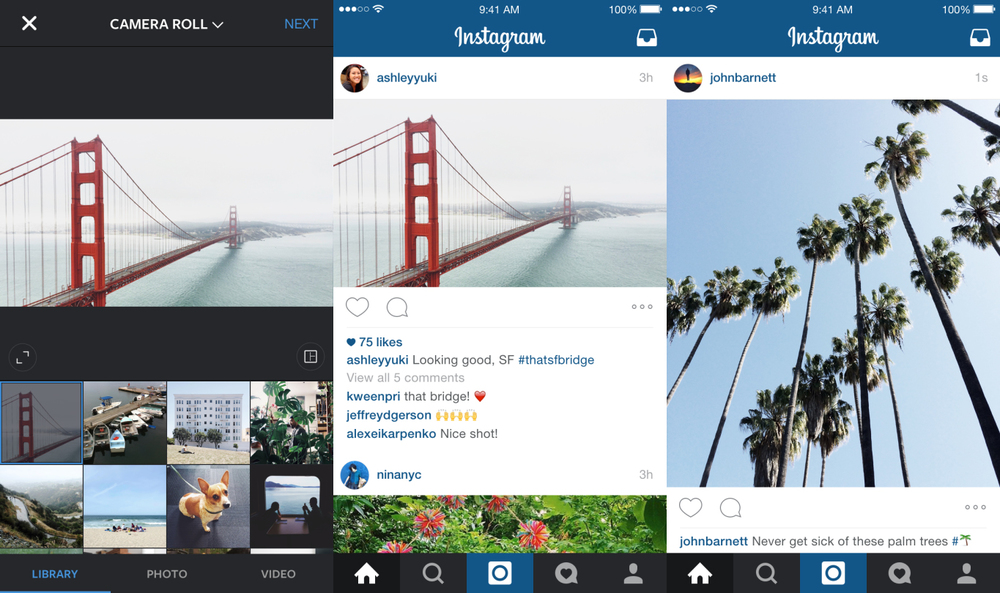 Portrait and Landscape photos in  Instagram