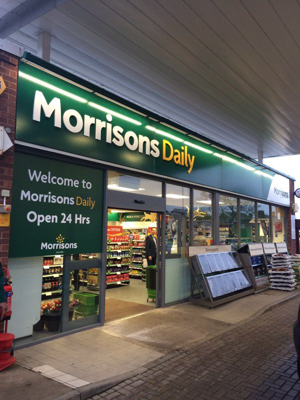 Morrison new logo on shop front