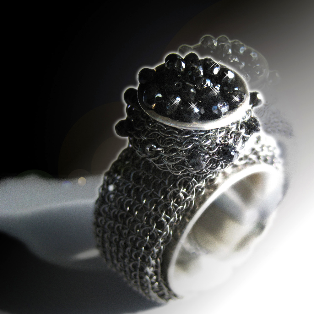 Tove Rygg LINK BIG Stainless Steel Silver Black Diamond Ring.jpg