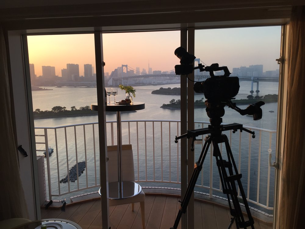 Capturing a sunset timelapse from the balcony of a suite room.
