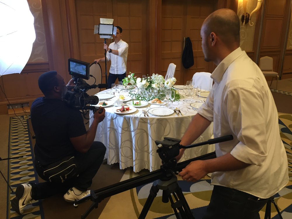 Setting a wedding fair shot in one of Hilton Tokyo Odaiba's many banquet rooms.