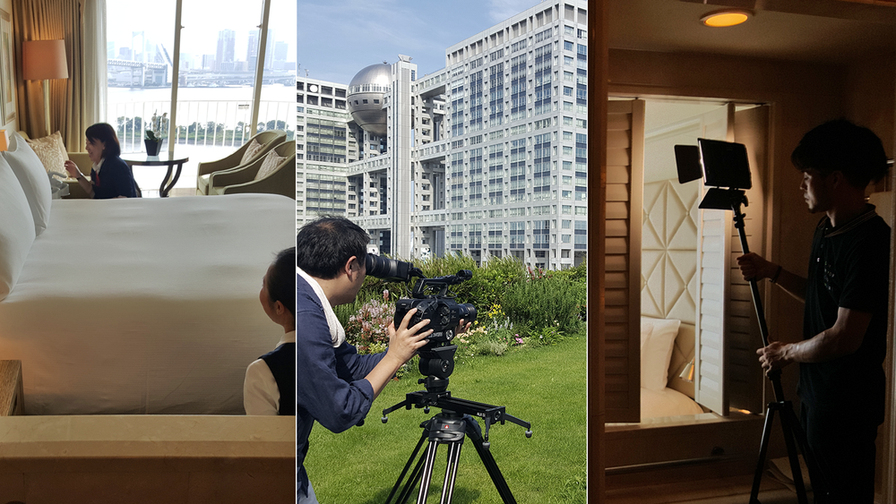 Behind the scenes shooting property facilities and rooms.
