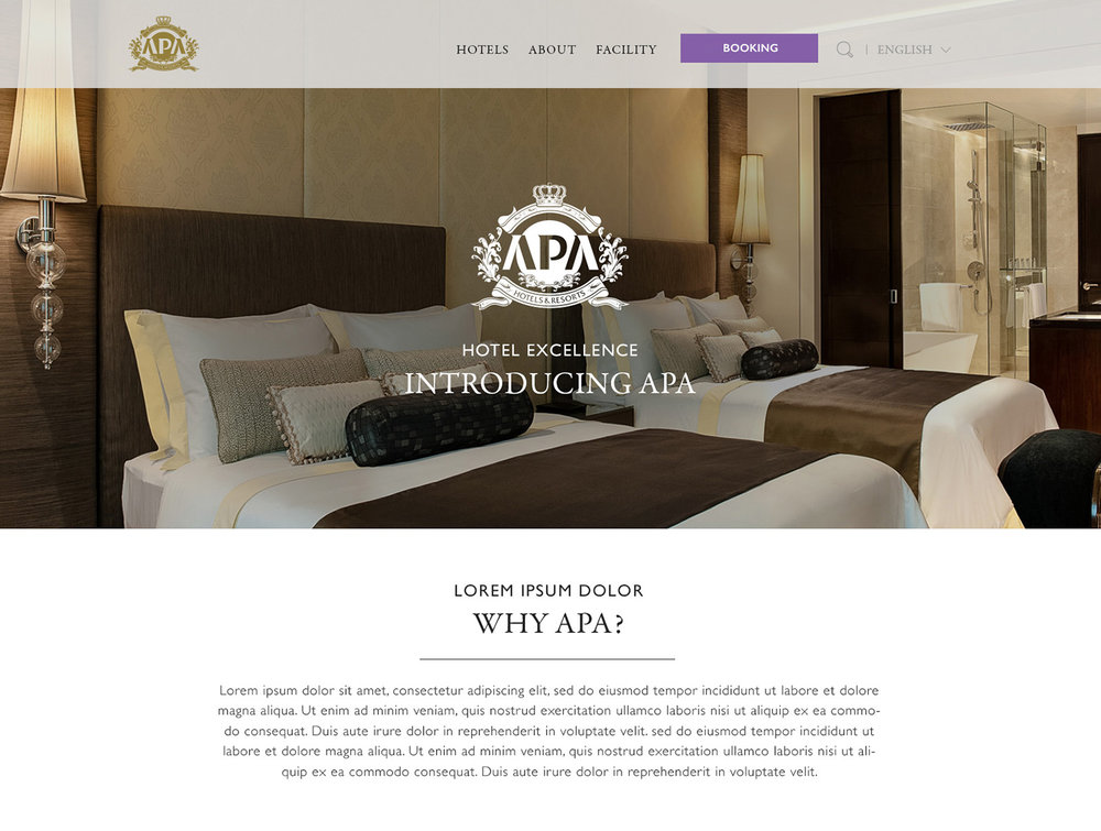 Design samples for APA hotel's international presence.