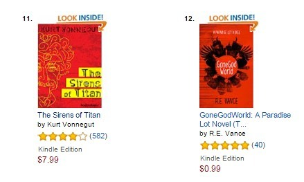 A good day. Paradise Lot: GoneGod World is ranked next to Vonnegut's Sirens of Titan ... One of my absolute favourite books! #RIP #Vonnegut #urbanfantasy #paradiselot #gonegod #author #writer #satire #satirenovel