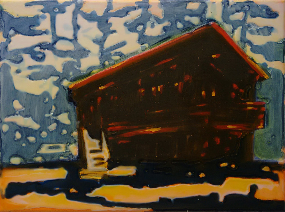 CABIN LAKE TAHOE  30x40 cm Acrylic and epoxy on canvas