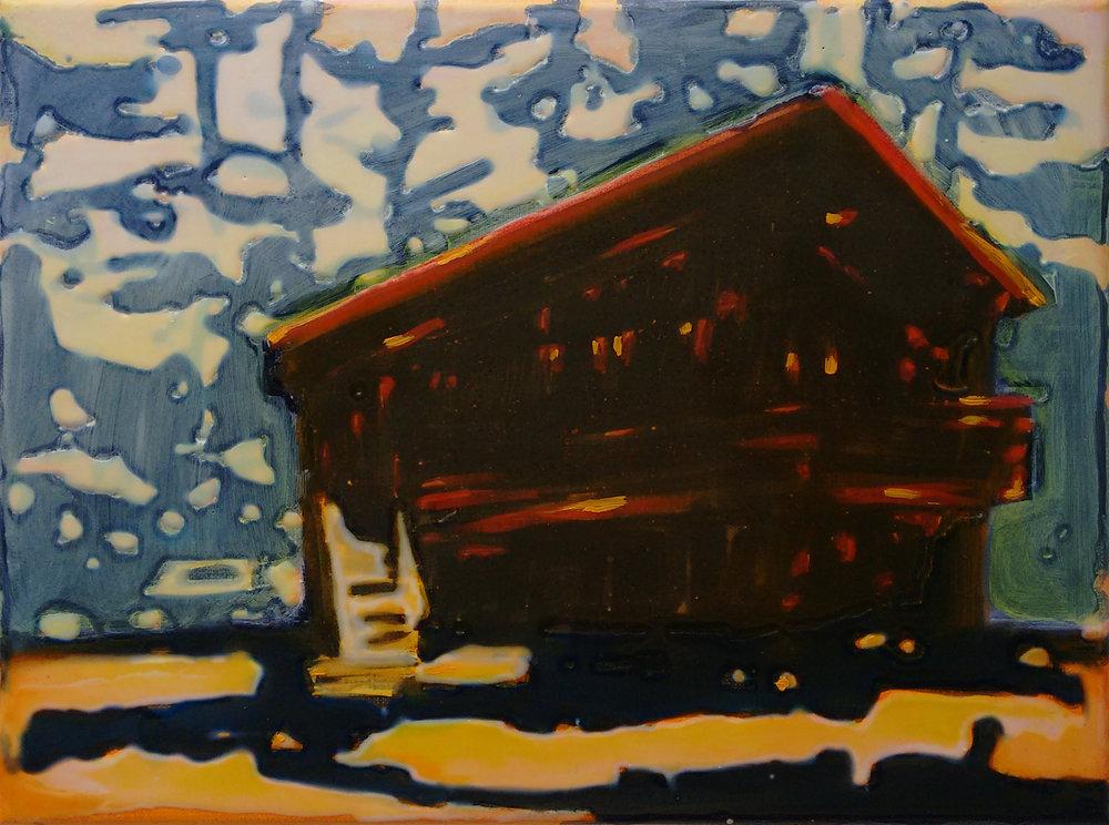 太浩湖畔小屋 30x40 cm 布面丙烯酸及环氧树脂