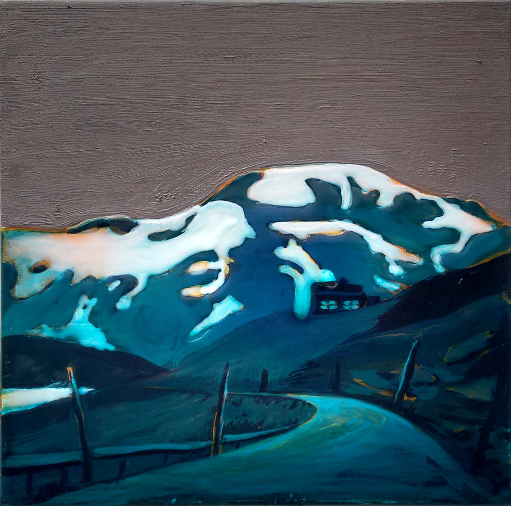 SOGNEFJELLSVEGEN 3  50x50 cm acrylic, oil and epoxy on canvas