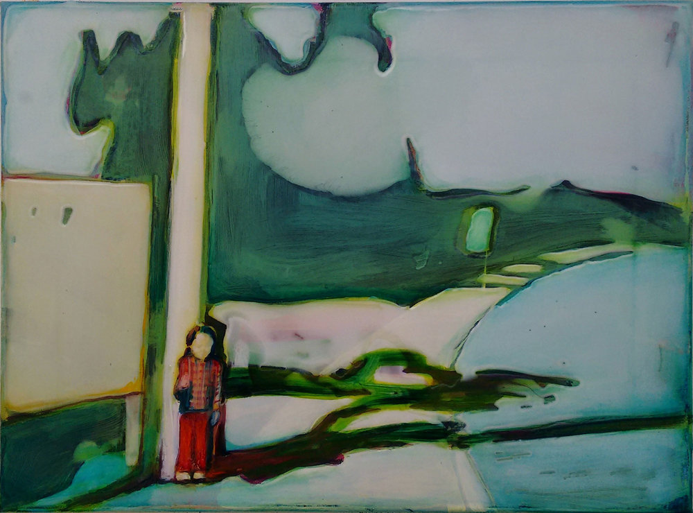 WAITING  30x40 cm acrylic and epoxy on canvas
