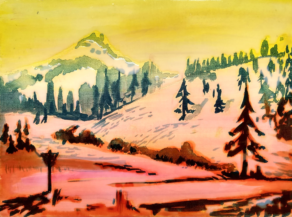 LASSEN PARK  30x40 cm epoxy on canvas  Sold