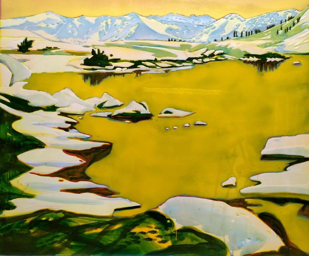 莫斯基托湖盆地 100 x 120 cm 布面丙烯酸及环氧树脂 已售