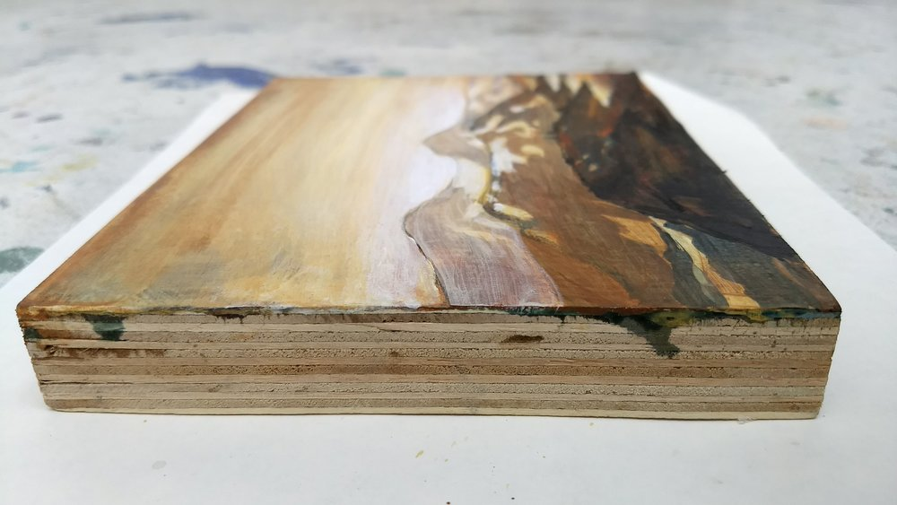 Work on wood  13x17 cm Mixed media  Sold