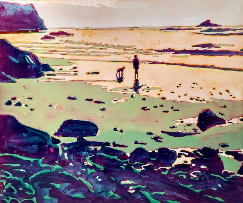加利福尼亚北海岸 100 x 120 cm 布面丙烯酸及环氧树脂 已售