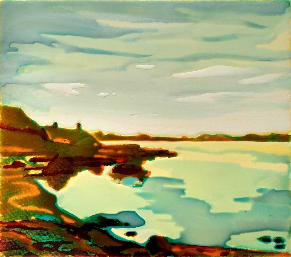 NORWAY-5  40x45 cm acrylic and epoxy on canvas
