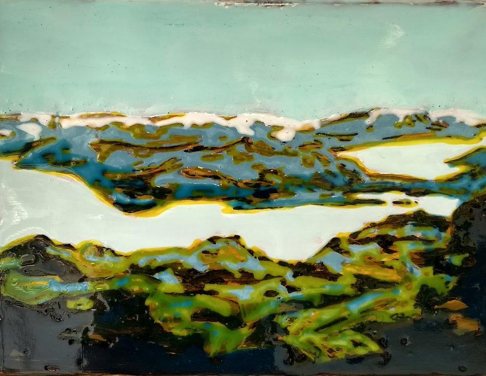 松恩山路 30 x 40 cm 布面丙烯酸及环氧树脂