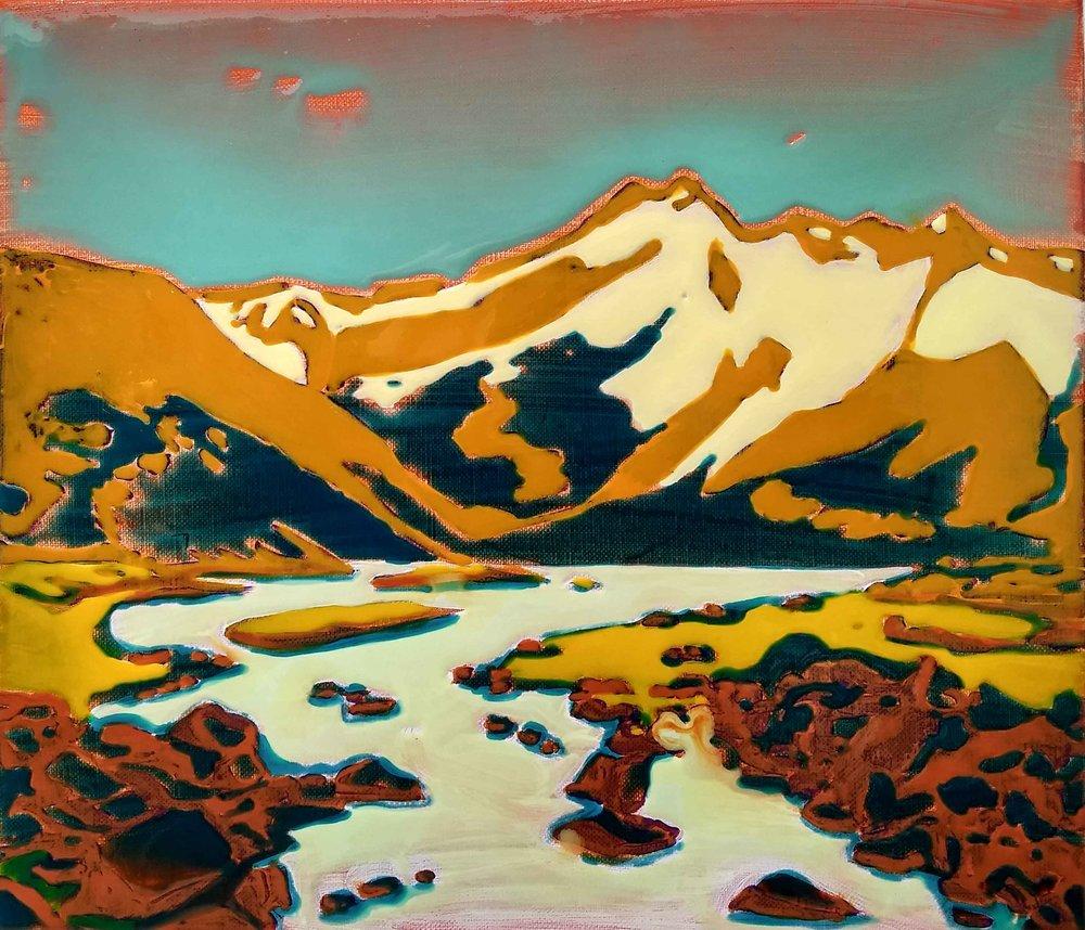 山脉 布面丙烯酸及环氧树脂 40 x 45 cm