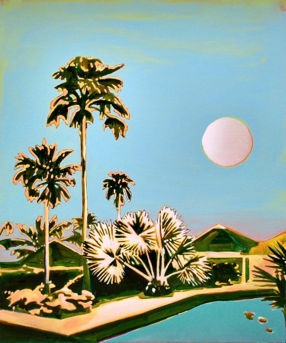 OVER THE MOON (CHOGOGO)  120 x 100 cm Acrylic and epoxy on canvas  Sold