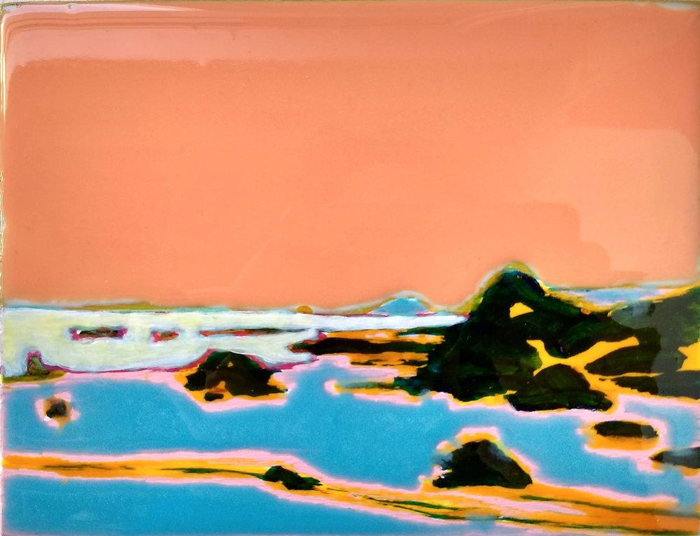 WORK ON WOOD  13 x 17 cm Acrylic and epoxy