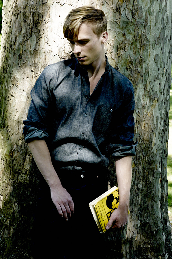 Will Tudor wears shirt and trousers by   Richard James