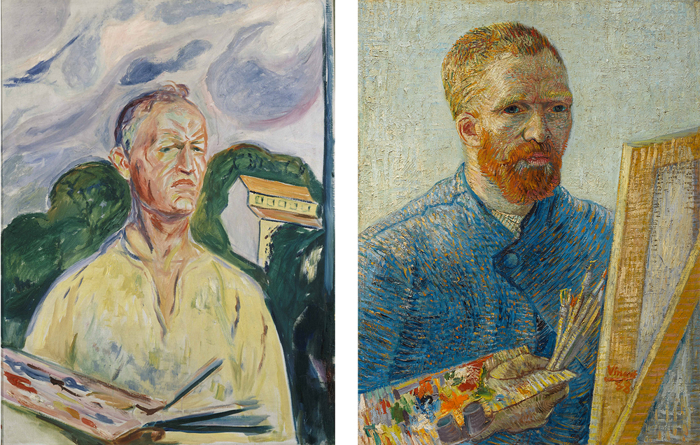 Left: Vincent van Gogh. Self-Portrait as a Painter, 1887-1888. Van Gogh Museum, Amsterdam. (Vincent van Gogh Foundation). Right: Edvard Munch. Self-Portrait with Palette, 1926. Private collection.
