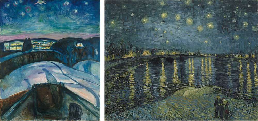 Left: Vincent van Gogh. Starry Night over the Rhône, 1888. Musée d'Orsay, Paris. Gift of Mr and Mrs Robert Kahn-Sriber, in memory of Mr and Mrs Fernand Moch, 1975 . Right: Edvard Munch. Starry Night, 1922-192. Munch Museum, Oslo.