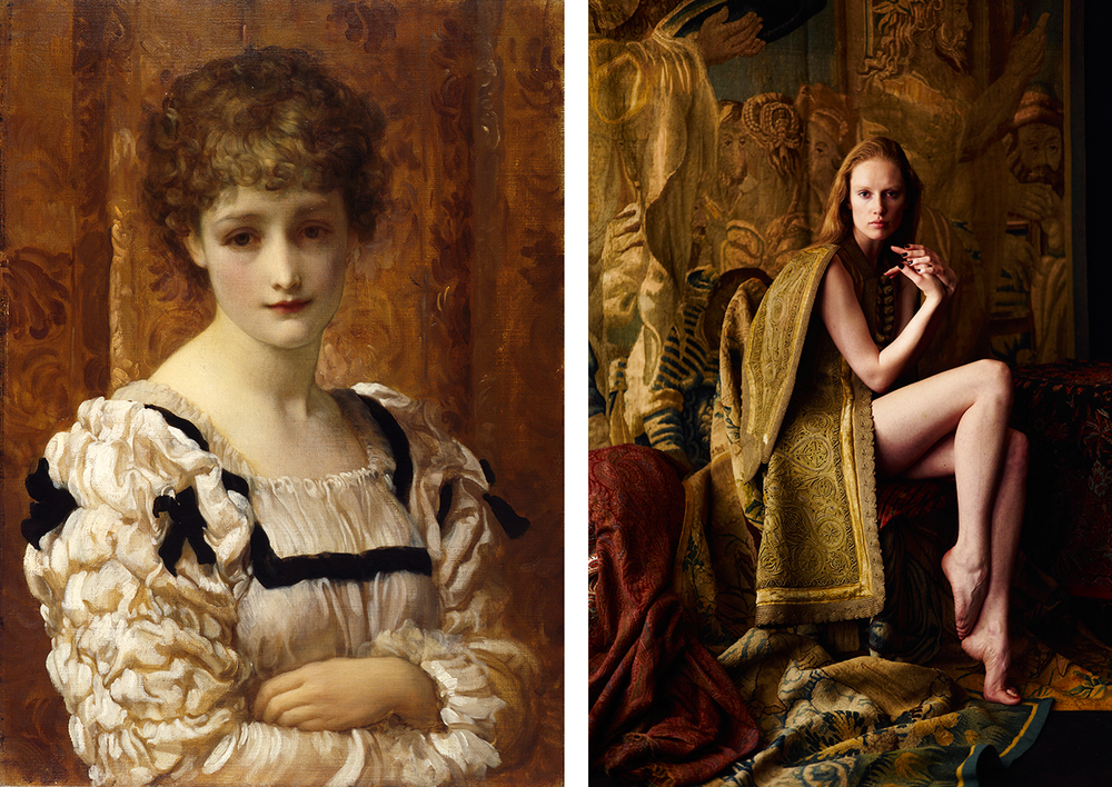Frederic Leighton: Bianca (c.1881) / photograph by Ram Shergill, Bianca is wearing a 14th century garment