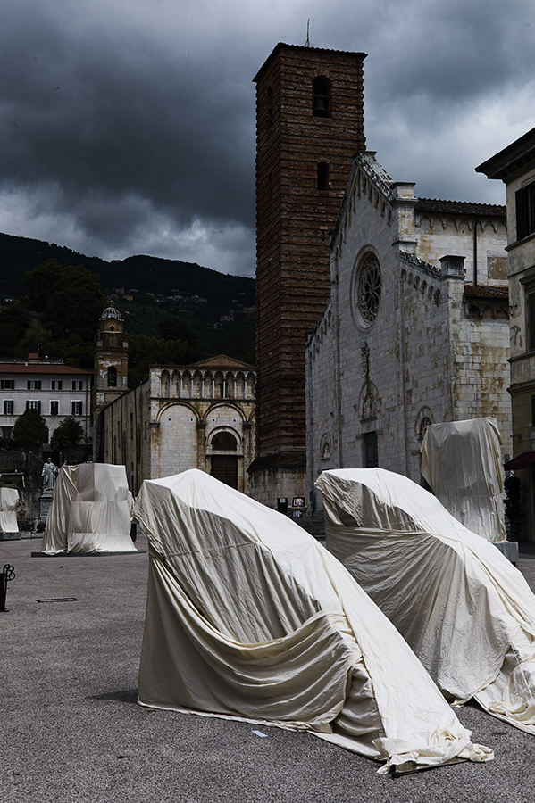 Sculptures before unveiling on the main square of Pietrasanta